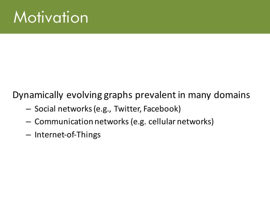 Motivation Dynamically evolving graphs prevalen...