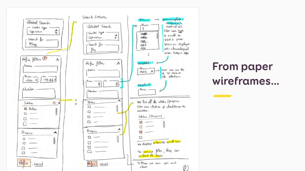 From paper wireframes…