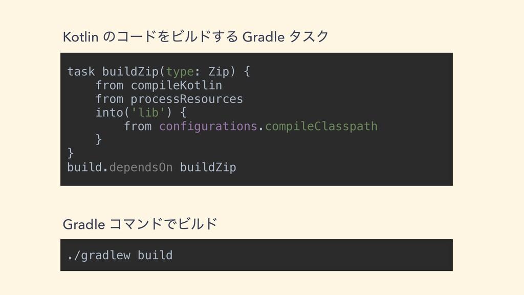 task buildZip(type: Zip) {   from compileKotlin...