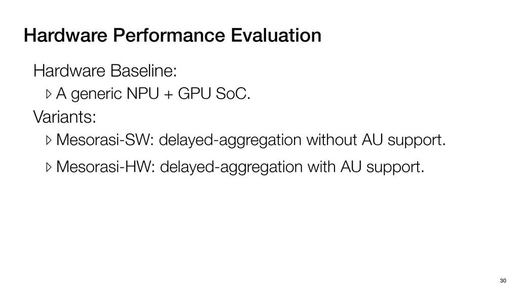 Hardware Performance Evaluation 30 Variants: ▹ ...
