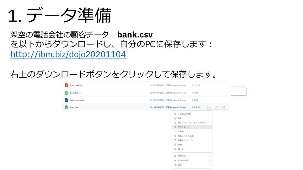 1. データ準備 架空の電話会社の顧客データ bank.csv を以下からダウンロードし、⾃分...