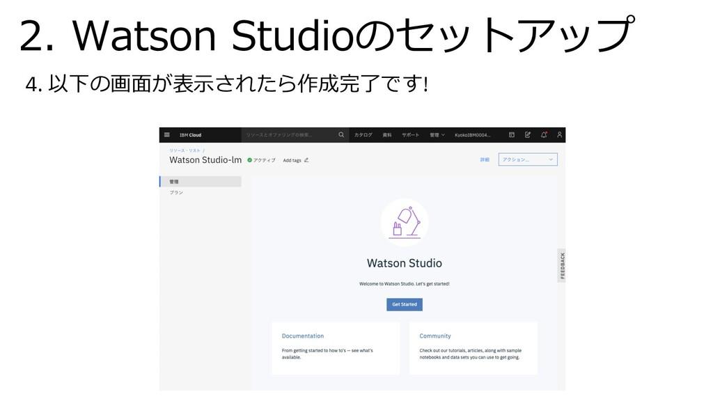 4. 以下の画⾯が表⽰されたら作成完了です! 2. Watson Studioのセットアップ