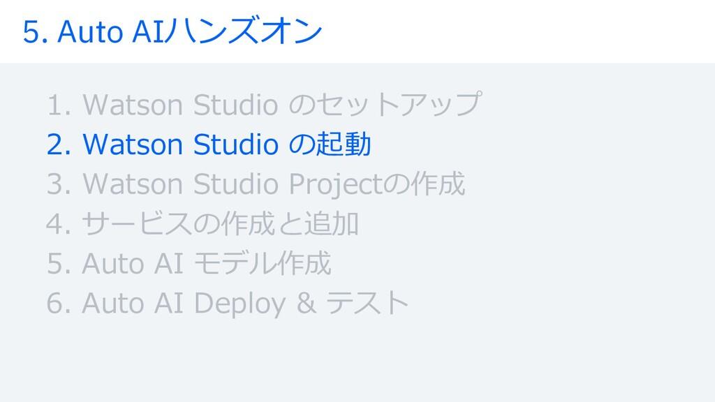 5. Auto AIハンズオン 1. Watson Studio のセットアップ 2. Wat...