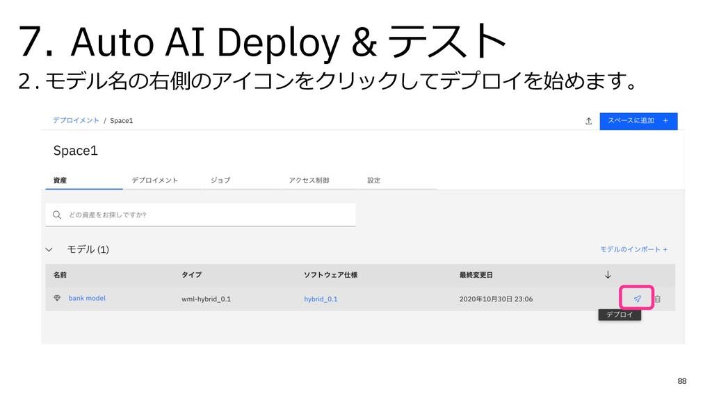 7. Auto AI Deploy & テスト 2. モデル名の右側のアイコンをクリックしてデ...