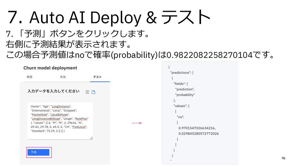 7. Auto AI Deploy & テスト 7. 「予測」ボタンをクリックします。 右側に...