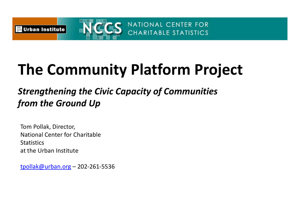 The Community Platform Project Strengthening th...