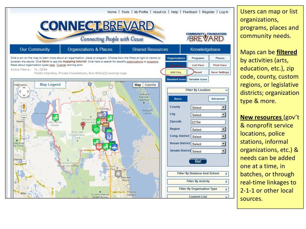Users can map or list organizations, programs, ...