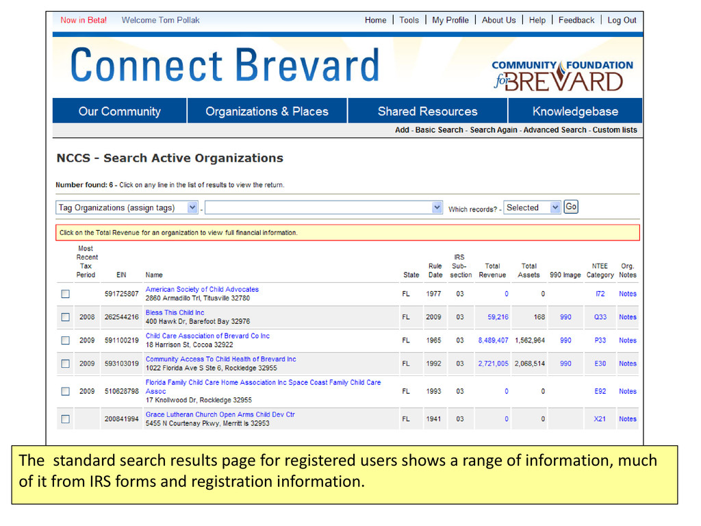 The standard search results page for registered...