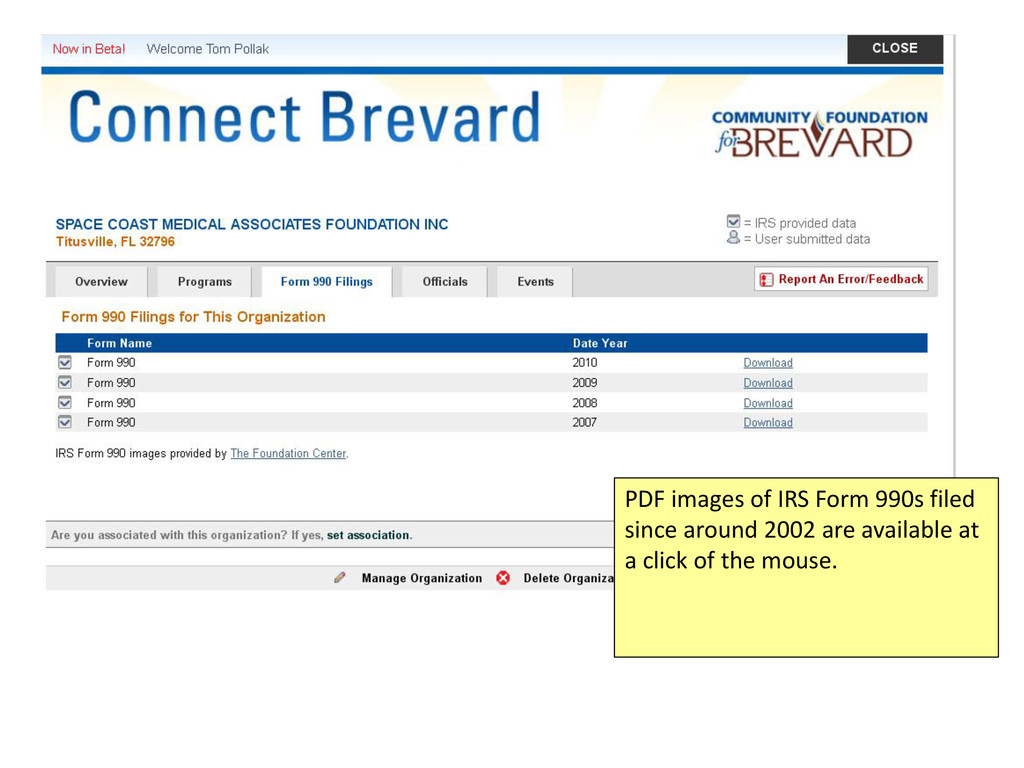 PDF images of IRS Form 990s filed since around ...