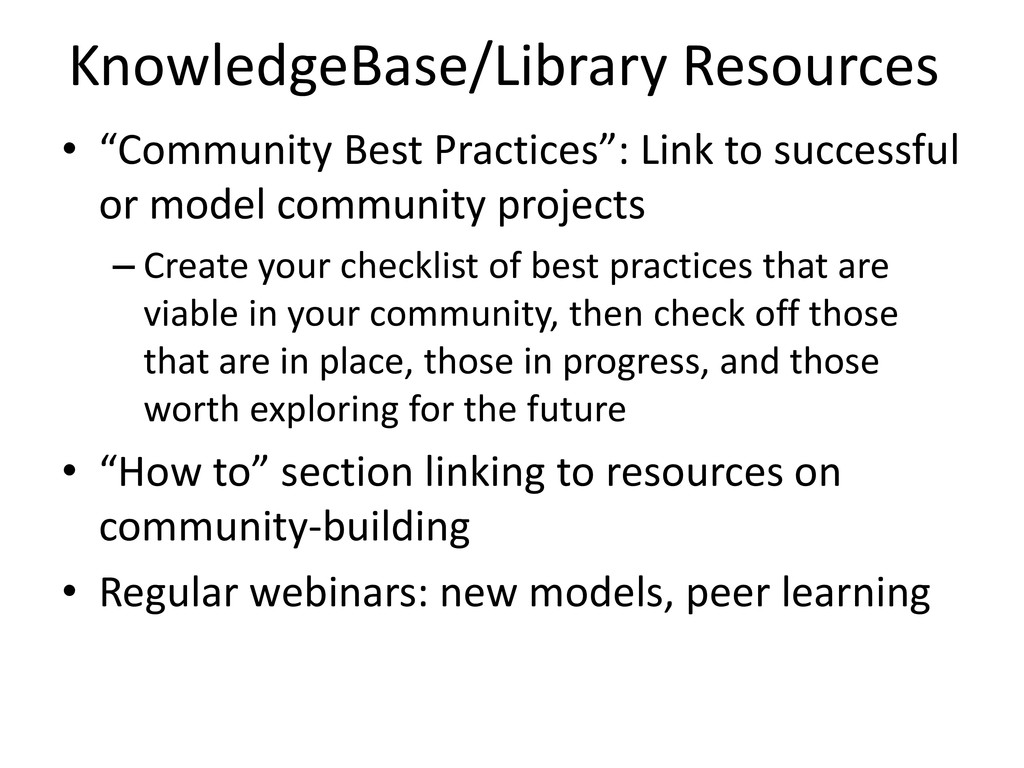 """KnowledgeBase/Library Resources • """"Community Be..."""