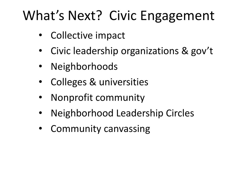 What's Next? Civic Engagement • Collective impa...