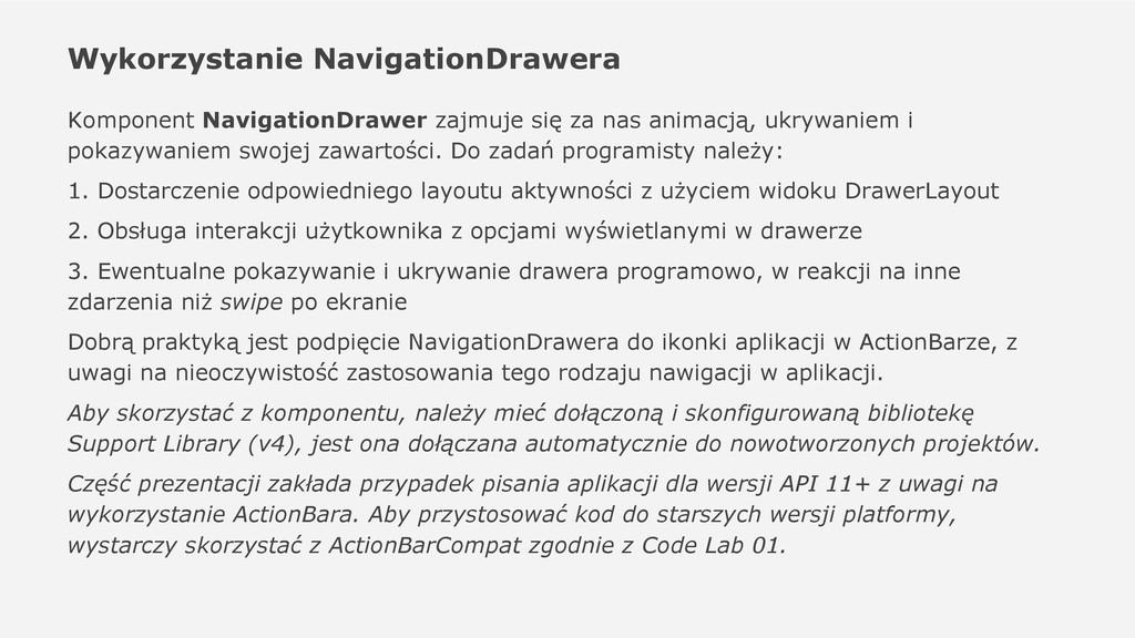 Wykorzystanie NavigationDrawera Komponent Navig...