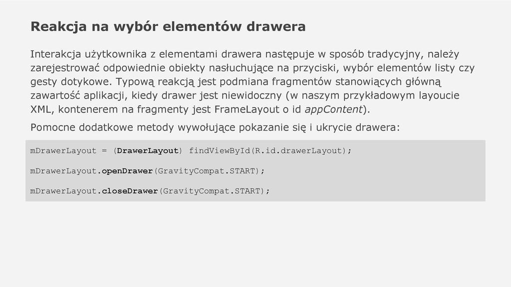 Reakcja na wybór elementów drawera Interakcja u...