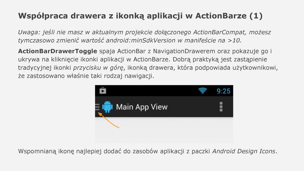 Współpraca drawera z ikonką aplikacji w ActionB...