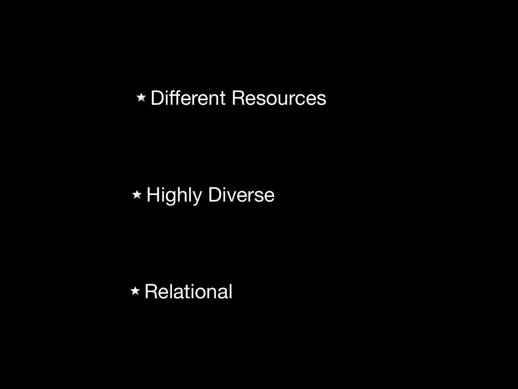 Different Resources  Relational Highly Diverse