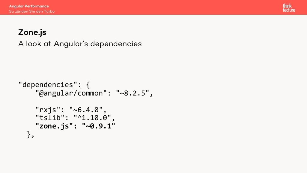 "A look at Angular's dependencies ""dependencies""..."