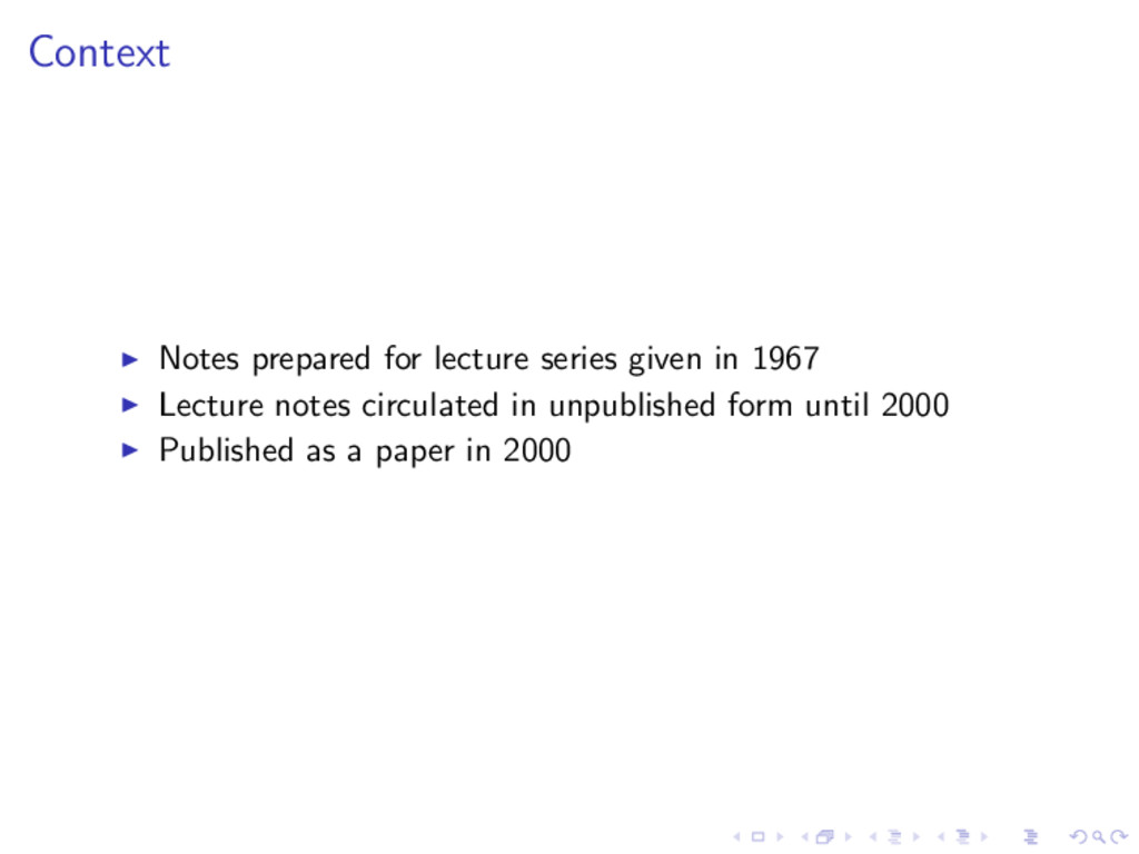 Context Notes prepared for lecture series given...