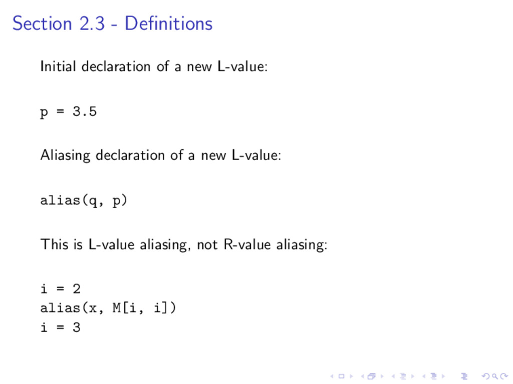 Section 2.3 - Definitions Initial declaration of...