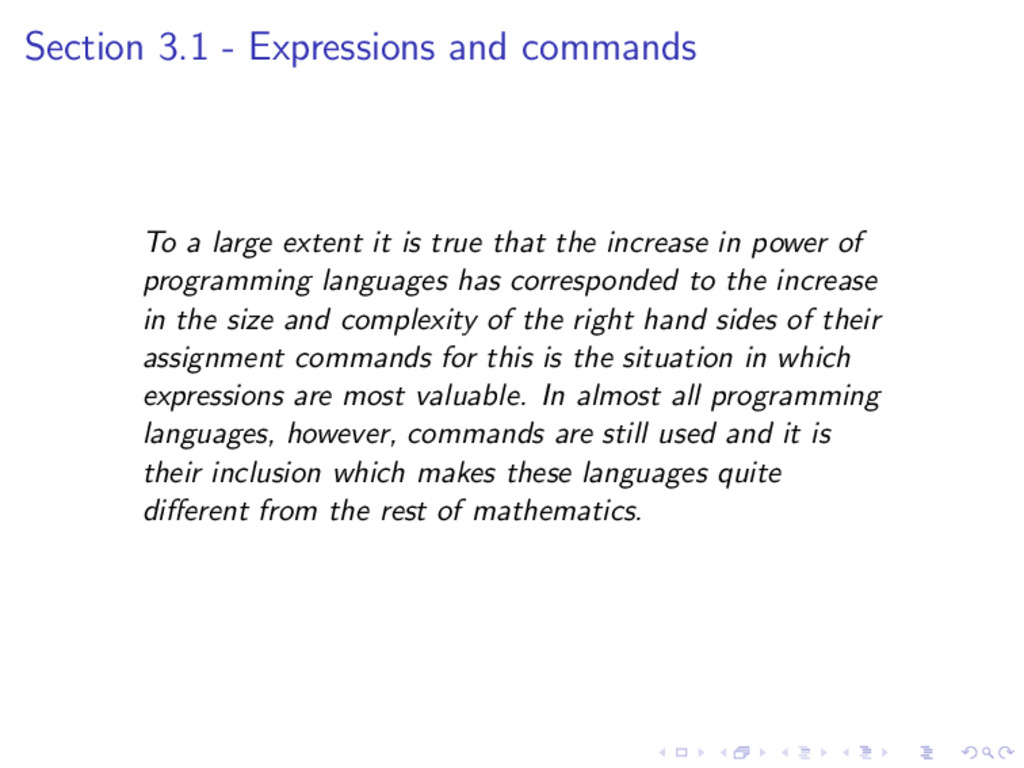 Section 3.1 - Expressions and commands To a lar...