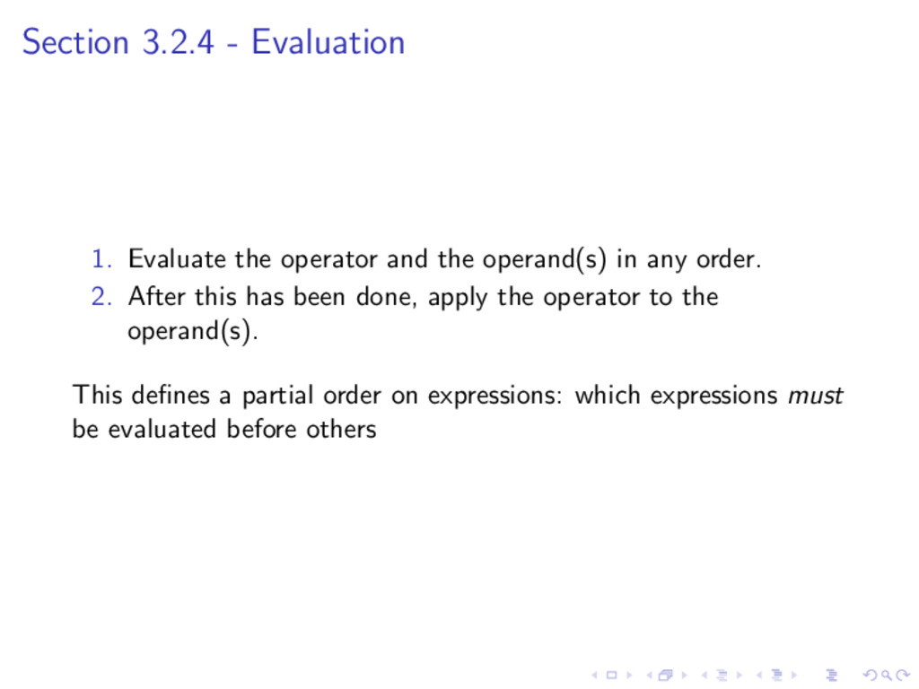 Section 3.2.4 - Evaluation 1. Evaluate the oper...