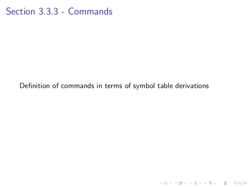 Section 3.3.3 - Commands Definition of commands ...