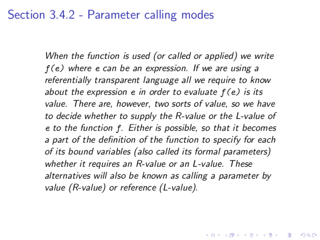 Section 3.4.2 - Parameter calling modes When th...