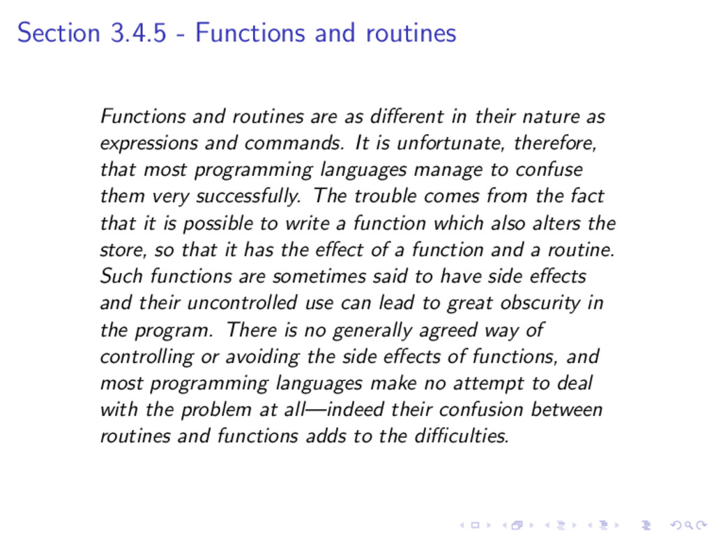 Section 3.4.5 - Functions and routines Function...