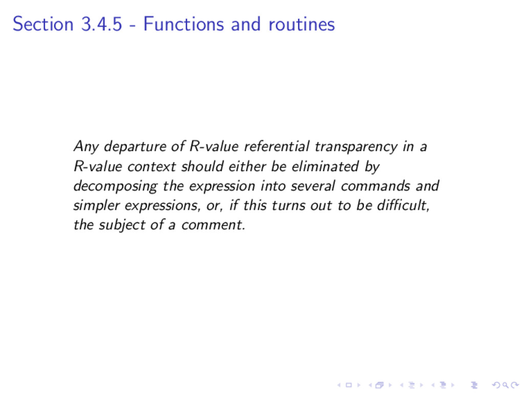 Section 3.4.5 - Functions and routines Any depa...