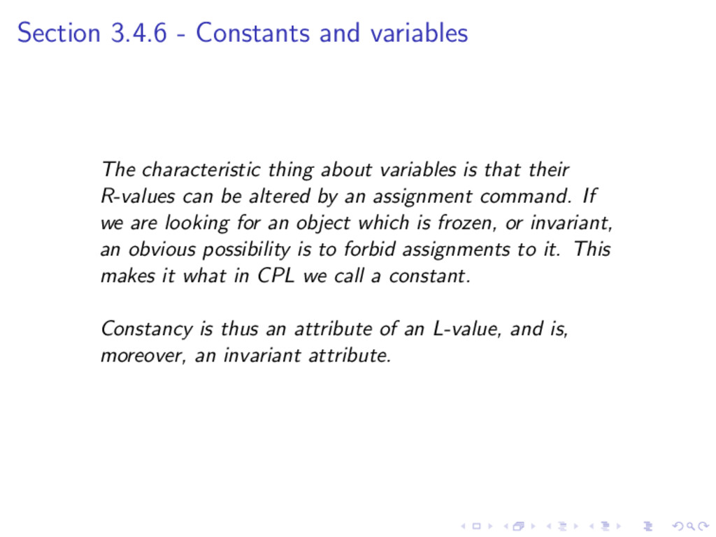 Section 3.4.6 - Constants and variables The cha...