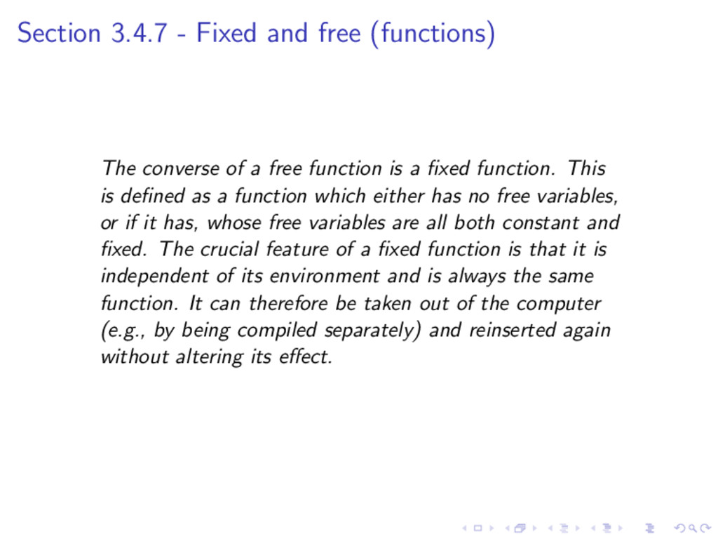 Section 3.4.7 - Fixed and free (functions) The ...
