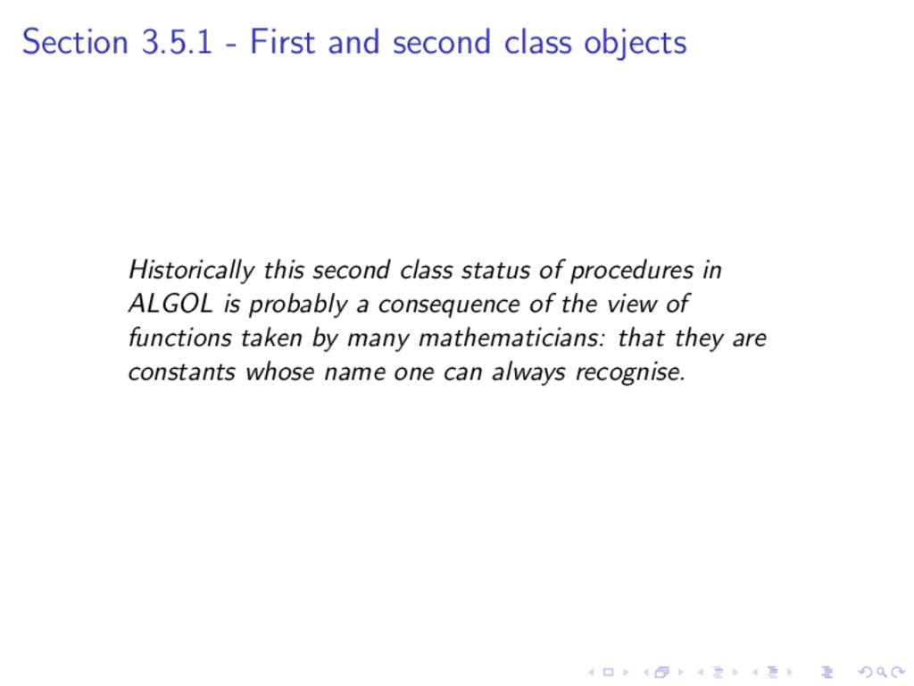 Section 3.5.1 - First and second class objects ...