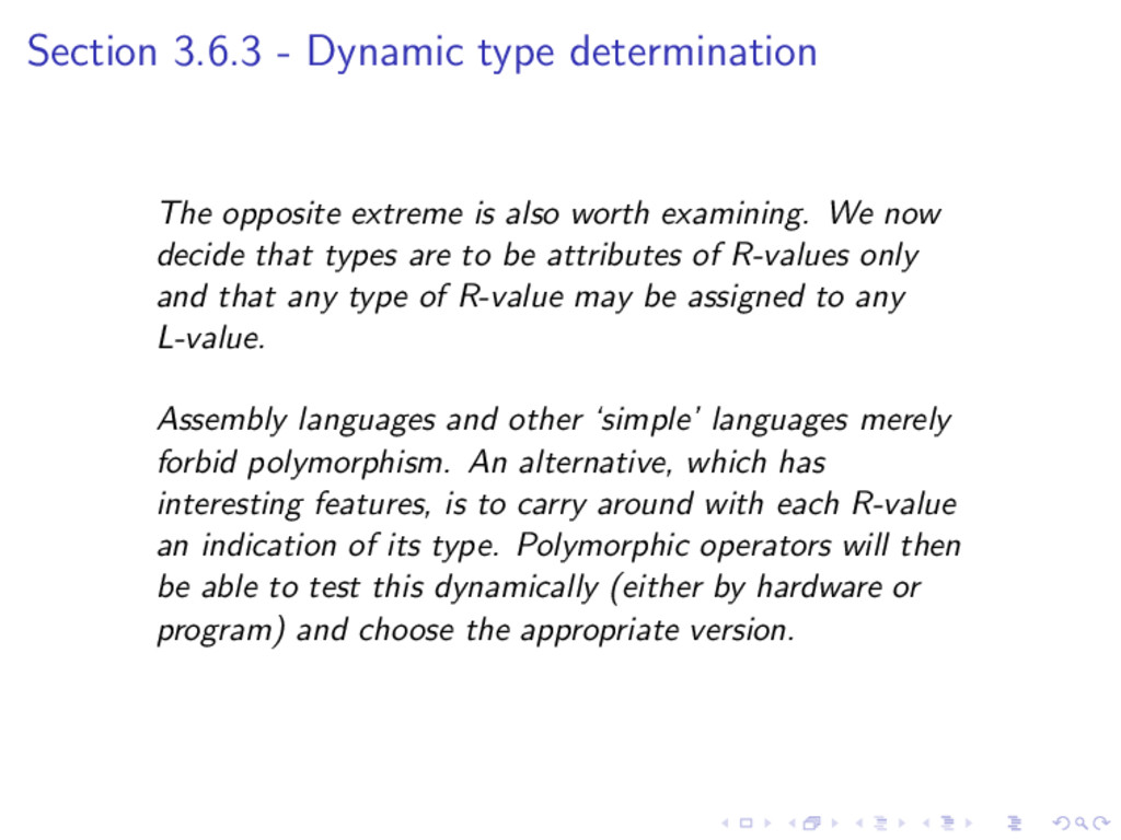 Section 3.6.3 - Dynamic type determination The ...