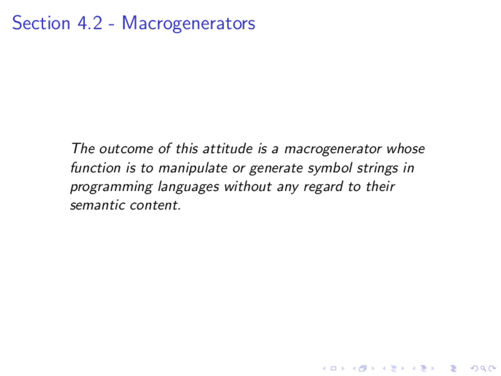 Section 4.2 - Macrogenerators The outcome of th...
