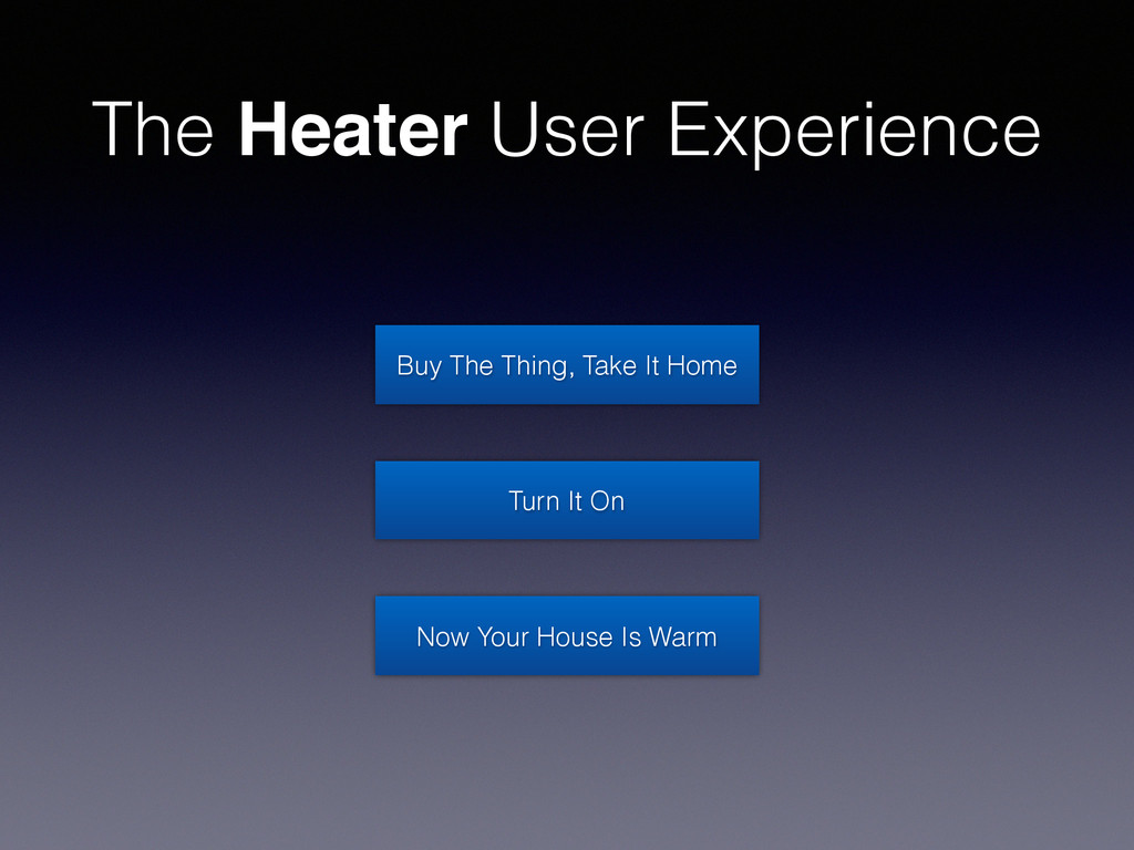 The Heater User Experience Buy The Thing, Take ...