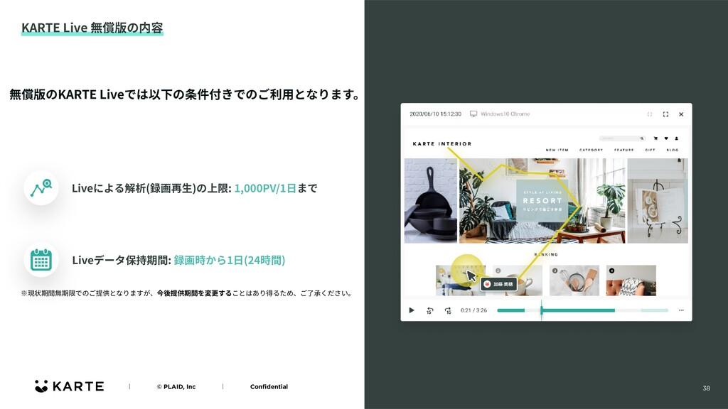 38 KARTE Live 無償版の内容 ʛɹɹɹɹ© PLAID, Incɹɹɹɹʛɹɹɹɹ...