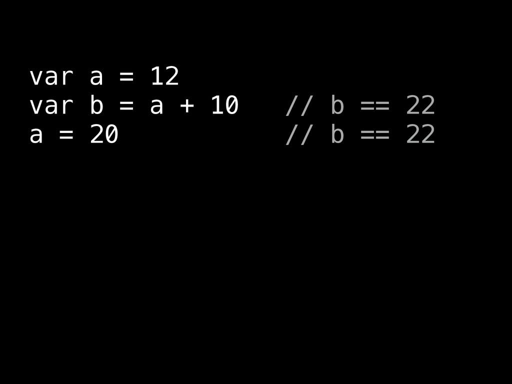 var a = 12 var b = a + 10 // b == 22 a = 20 // ...