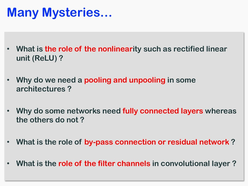 • What is the role of the nonlinearity such as ...