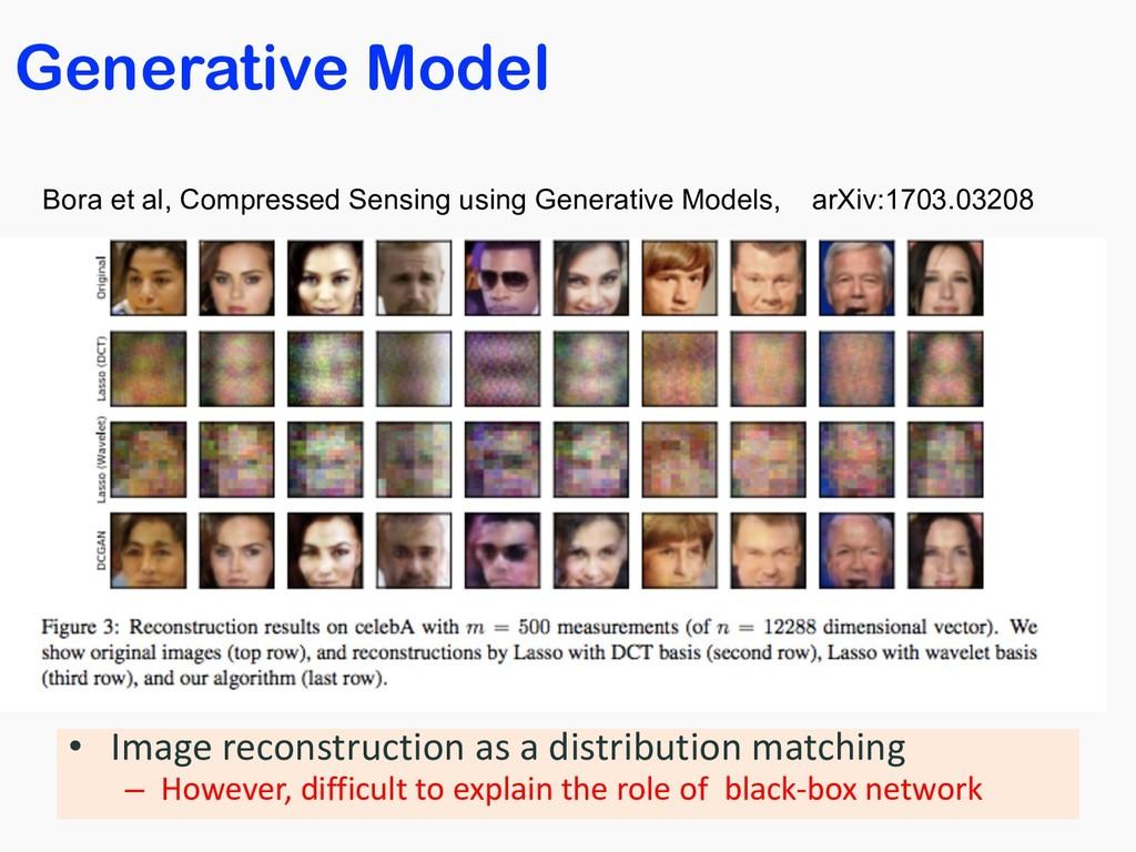 Generative Model • Image reconstruction as a di...