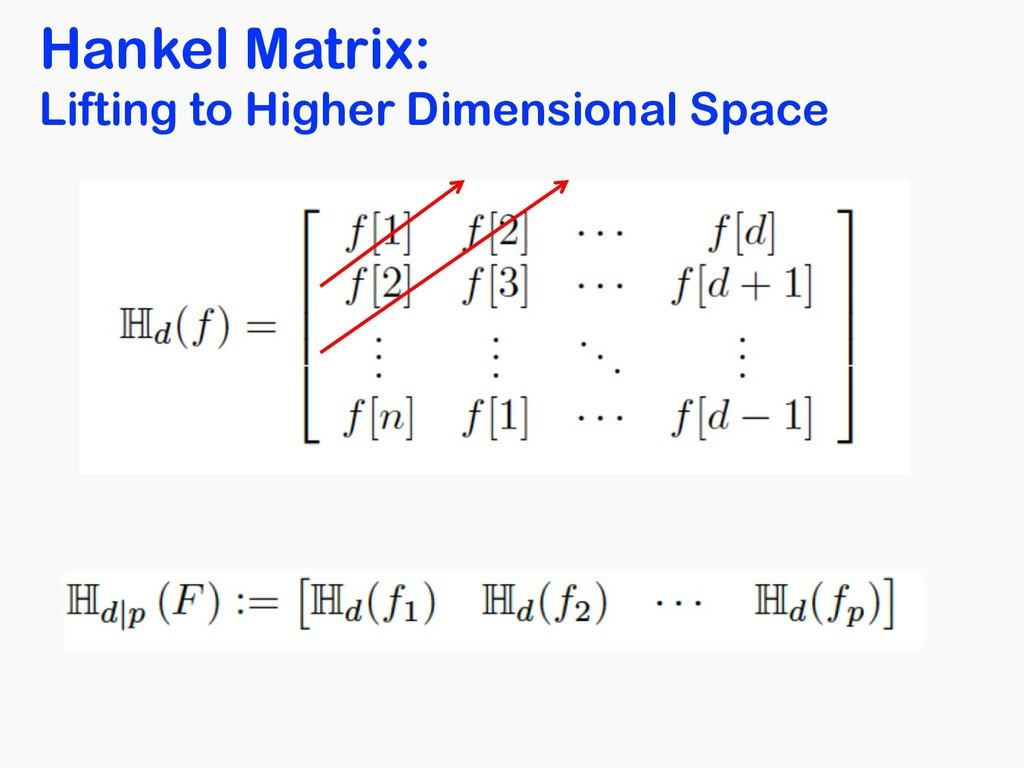 Hankel Matrix: Lifting to Higher Dimensional Sp...