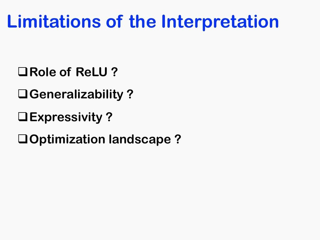 Limitations of the Interpretation qRole of ReLU...