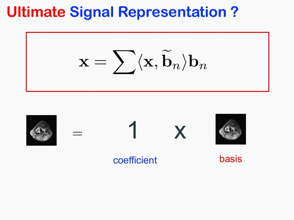 Ultimate Signal Representation ? = <latexit sha...