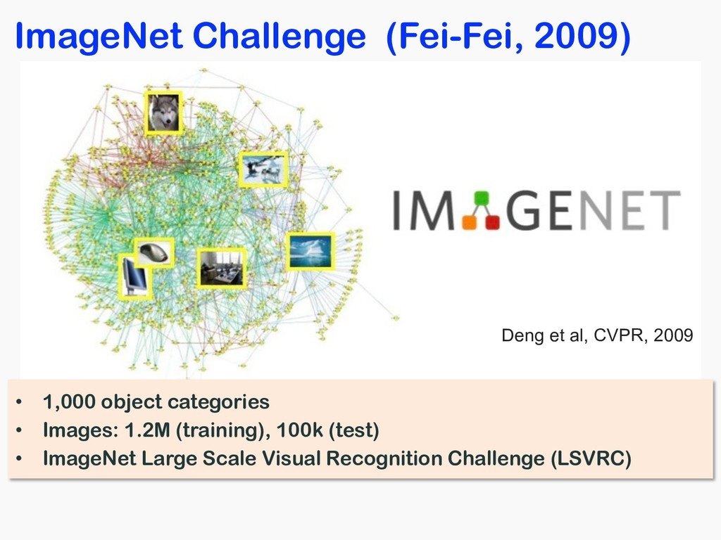 ImageNet Challenge (Fei-Fei, 2009) • 1,000 obje...