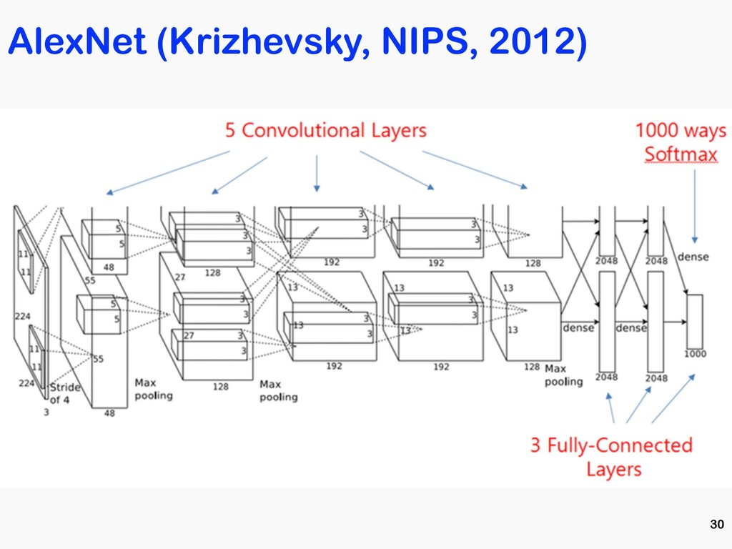 AlexNet (Krizhevsky, NIPS, 2012) 30