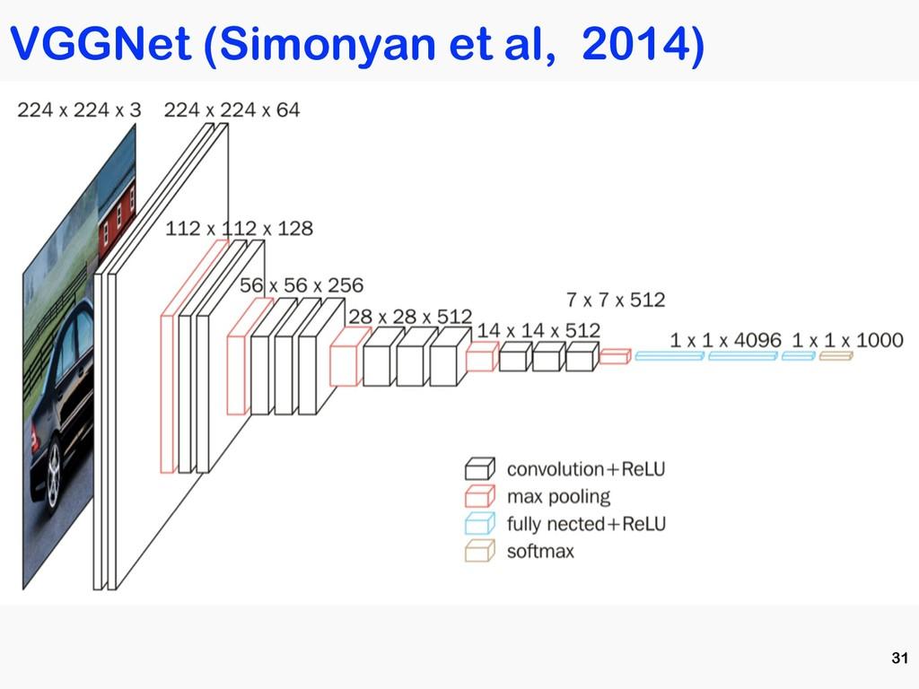 VGGNet (Simonyan et al, 2014) 31