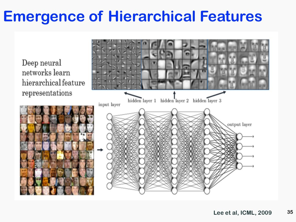 35 Lee et al, ICML, 2009 Emergence of Hierarchi...