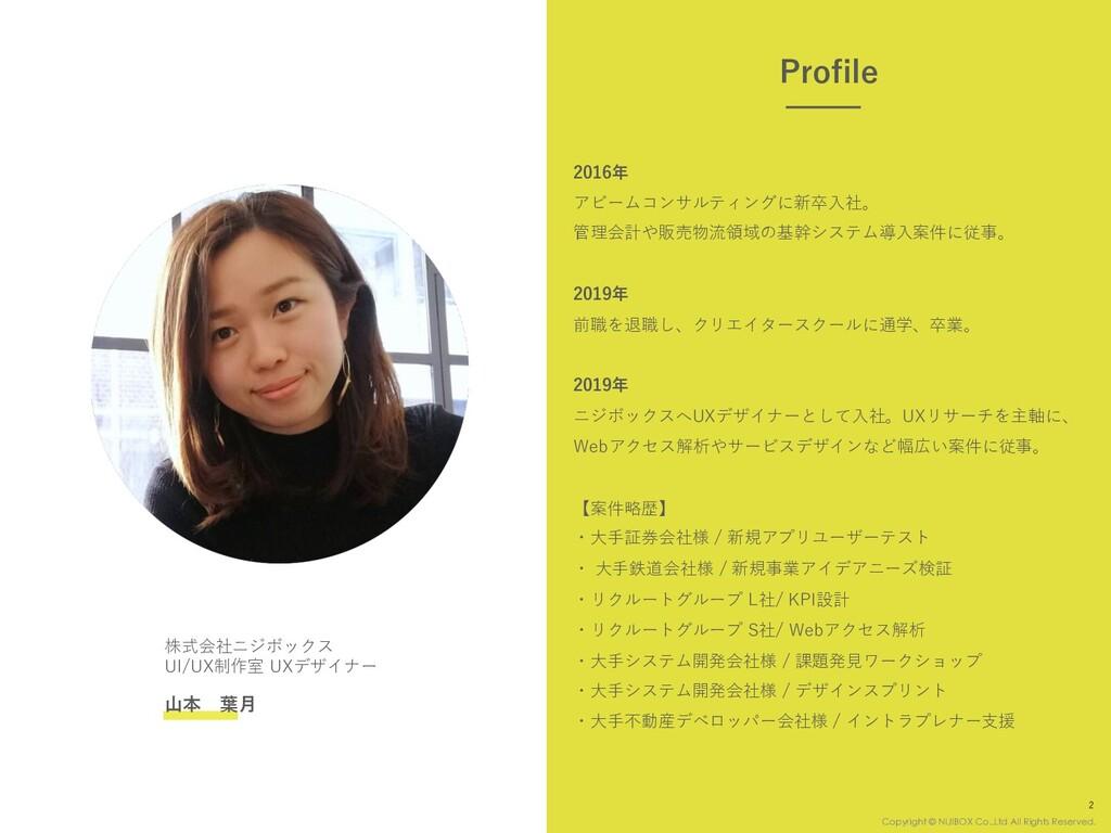 株式会社ニジボックス UI/UX制作室 UXデザイナー ⼭本 葉⽉ 2016年 アビームコンサ...