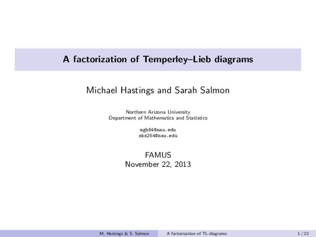 A factorization of Temperley–Lieb diagrams Mich...