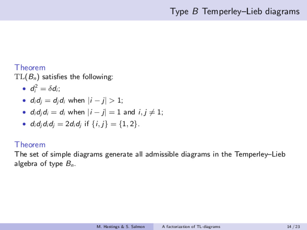 Type B Temperley–Lieb diagrams Theorem TL(Bn ) ...