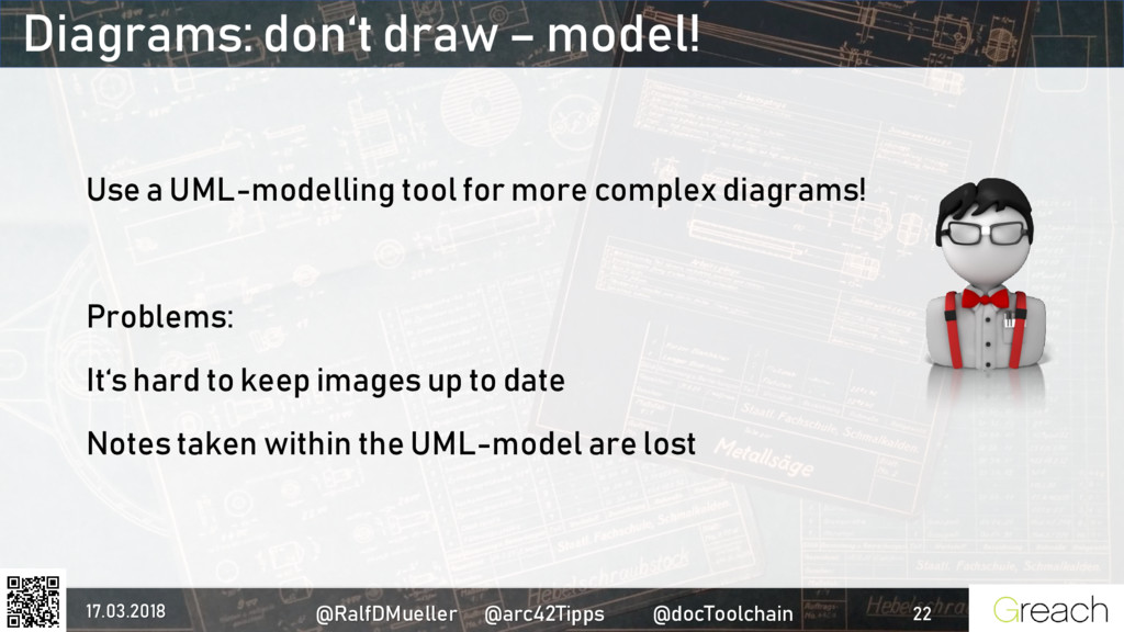 Diagrams: don't draw – model! Use a UML-modelli...