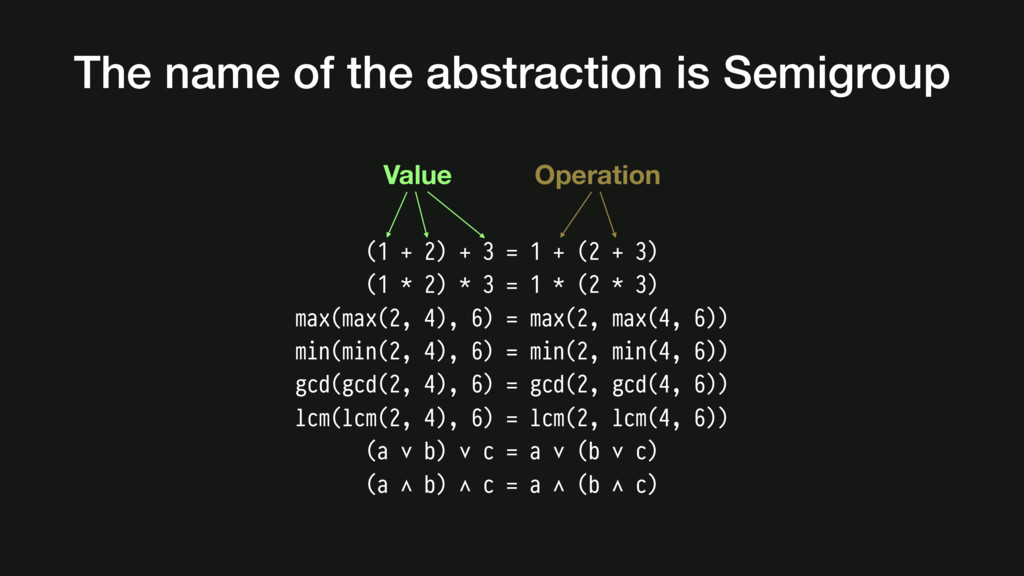 The name of the abstraction is Semigroup (1 + 2...